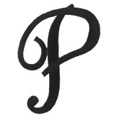 Embroidered Iron-On Script Letter P - 3""